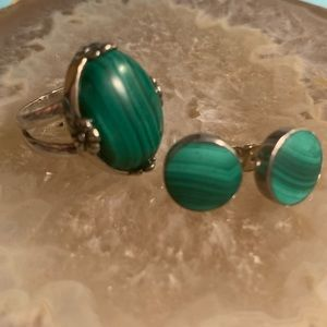 Sterling Silver Malachite ring and earrings